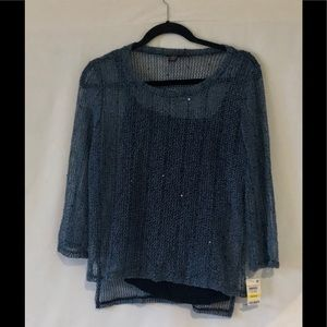 Inc 2 Piece Blue Top with Black Tank New With Tags